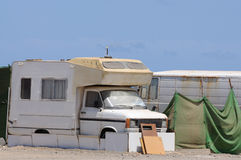 Old RV in a trailer park stock images