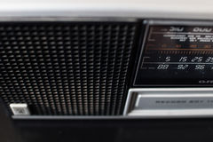 Old 70s analog radio with European radio stations in the selecti. Old german radio from 70s Royalty Free Stock Photos