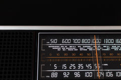Old 70s analog radio with European radio stations in the selecti Stock Images