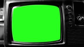 Old 1980s Tv Green Screen. Aesthetics of the 80s. Black and White Tone. Zoom In Fast.