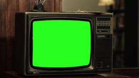 Old 1980s Tv With Green Screen.