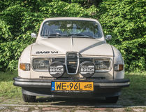 Old Saab 95 car. Vintage Swedish car 95 two doors version with four stroke motor. Polish Yellow number plates for a historic car with more than 90 per cent og Royalty Free Stock Image