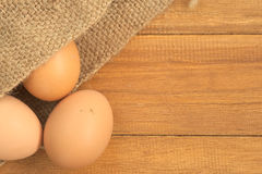 Old sack of eggs Stock Images
