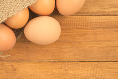 Old sack of eggs Stock Photo