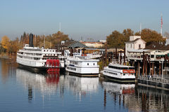 Old Sacramento. Boats on American River in Old Sacramento, California royalty free stock image