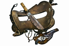 Old Saddle,Gun,Knife,Spurs Stock Images