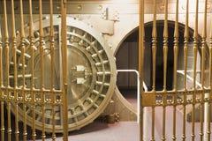 Old safe. Door in old bank safe deposit room Royalty Free Stock Image