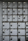 Old safety deposit boxes in disuse. Old metal safety deposit boxes in disuse Royalty Free Stock Photo
