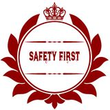 Old SAFETY FIRST red seal. Illustration graphic image concept Stock Photos