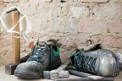 Old safety shoes. Royalty Free Stock Photo