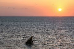 Old sail boat silhouette against the sunrise or sunset Royalty Free Stock Photo