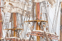Old sail and old ship masts Stock Images
