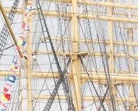 Old sail and old ship masts Royalty Free Stock Photo