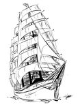 Old sail ship. Isolated old sail ship on white background stock illustration