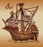 Old sail ship. Cartoon old sail spanish ship stock illustration