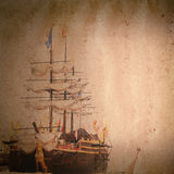 Old sail ship grunge paper texture Royalty Free Stock Photos