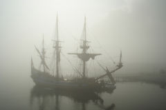 Old Sail Ship (Pirate) In The Fog Royalty Free Stock Images