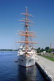 Old sail ship in the port of Riga. Latvia royalty free stock photos