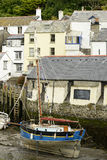 Old sailboat aground, Polperro Stock Images