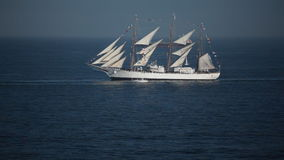 Old sailboat. Old Argentinian sailboat `Libertad` on the chilean coasts in Valparaiso stock video