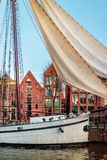 Old sailboat in a canal in the city center of Groningen. The Netherlands stock images