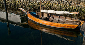 OLD SAILBOAT. In the harbor of Aarhus stock images