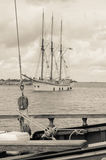 Old sailboat in the harbor Royalty Free Stock Image