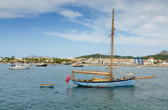 Old sailboat in Majorca bay Royalty Free Stock Image