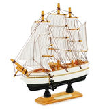 Old sailboat model isolated on white background. Royalty Free Stock Image