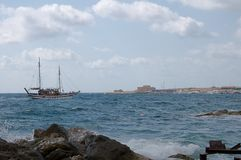 Old sailboat in port Paphos - Cyprus Stock Image