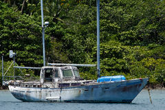 Old sailboat at Savusavu harbor, Vanua Levu island, Fiji. South Pacific royalty free stock photos