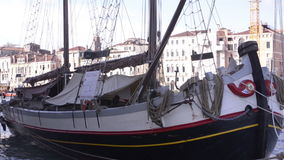 Old sailboat in Venice stock footage