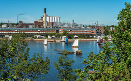 Old sailboats race with Karlshamn city scenery Royalty Free Stock Photos