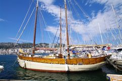Old sailing boat. Old wooden sailing boat in toulon harbour in south of france Royalty Free Stock Image