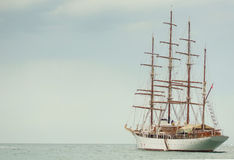 Old sailing boat at blue sea Royalty Free Stock Images
