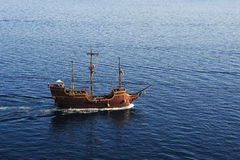 Old sailing boat on che coast of Dubrivnik Stock Photography