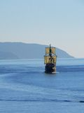 Old sailing boat in Dubrovnik. Old sailing boat is coming in pot of Dubrovnik stock photography