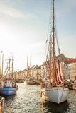 Old sailing boat in evening light in Copenhagen Stock Images