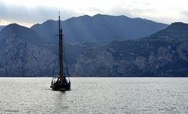 Old Sailing Boat on Lake Garda. On it`s way in to Malcesine Stock Image