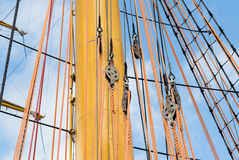 Old sailing boat rigging. The Old sailing boat rigging Royalty Free Stock Images