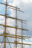 Old sailing boat rigging. The Old sailing boat rigging Stock Image