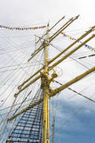 Old sailing boat rigging Stock Images