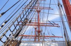 Old sailing boat rigging Stock Image