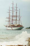 Old sailing boat. On ripped sea Royalty Free Stock Image