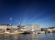 Old sailing boats in helsinki city harbor port finland Stock Images