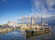 Old sailing boats in helsinki city harbor port finland Stock Photos
