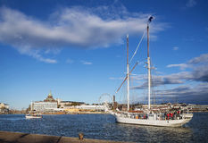 Old sailing boats in helsinki city harbor port finland Royalty Free Stock Photos