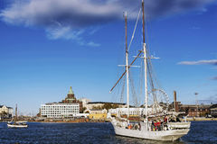 Old sailing boats in helsinki city harbor port finland Royalty Free Stock Photo