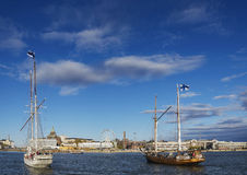 Old sailing boats in helsinki city harbor port finland Royalty Free Stock Images