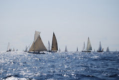 Old sailing boats in Imperia stock photography